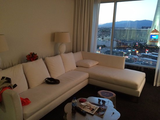 sls las vegas hotel casino large couch and louge with stratosphere view from world