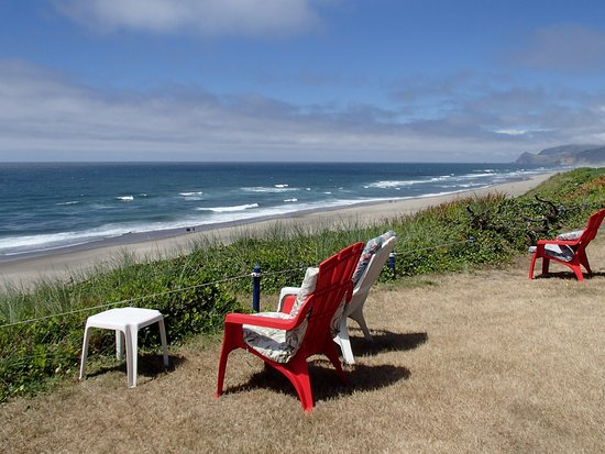 The Sands Condominiums: Backyard, chairs, and view (Cascade Head in the distance)