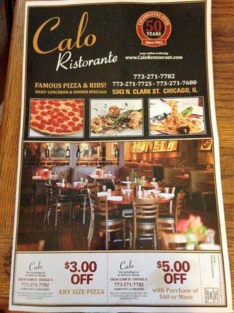 Calo Restaurant Chicago Menu