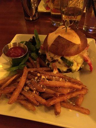 Valparaiso, IN: This was a burger special of the night, Portobello, bacon, cheeseburger, with garlic romano frie