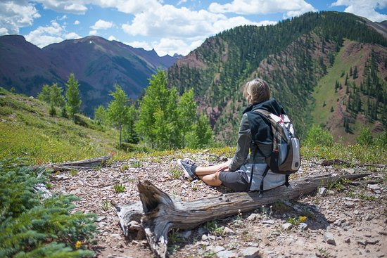 Respite on the Summit trail at Snowmass. Take a break and enjoy the view.
