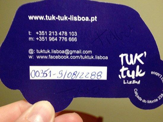 Lisbon District, Portugal: Targeta que nos dió Tiago al finalizar la excursión, le dije que lo colagaria en trip