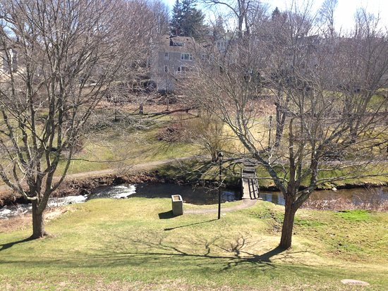 Brewster Gardens: The path on the other side of the river is the walk to the Grist mill.