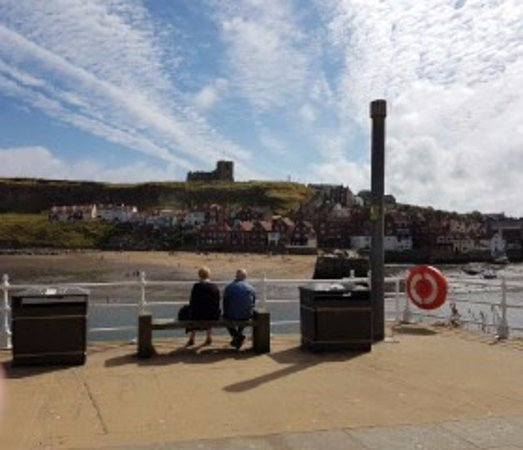 Whitby Abbey: Love this picture of the elderly couple looking at the Abbey