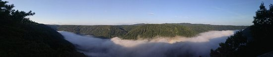 Lansing, WV: Clouds in the canyon a couple of hours after sunrise.