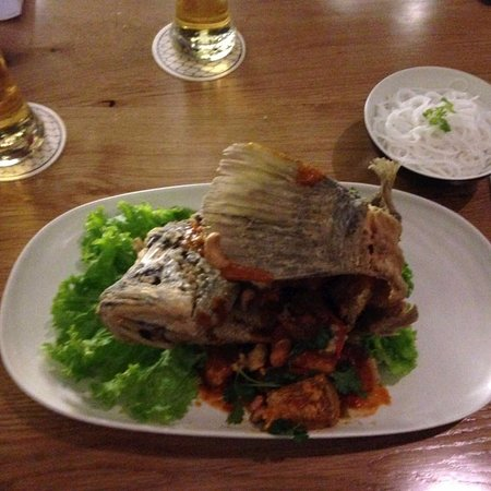 Deep Fried Sea-bass with sweet & sour chilli sauce.