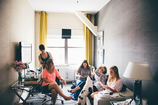 The Marcel at Gramercy: Photographer: Bryan Sargent -Hotel Suite, getting ready for the wedding with our ESA dog