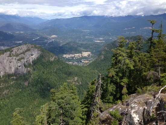 Looking down into the valley around Squamish that is criss-crossed by more than 250 km of trails