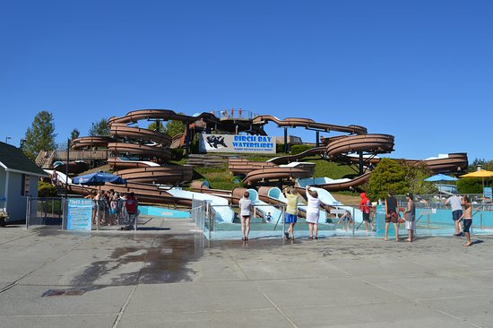 Birch Bay Waterslides: This is the tower with 4 different slides: Snake, Twister, Corkscrew and the other one.