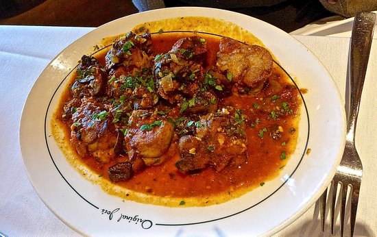 Daly City, CA: sweetbreads with tomato sauce ...... nicely done.  not that common to see these on a menu these