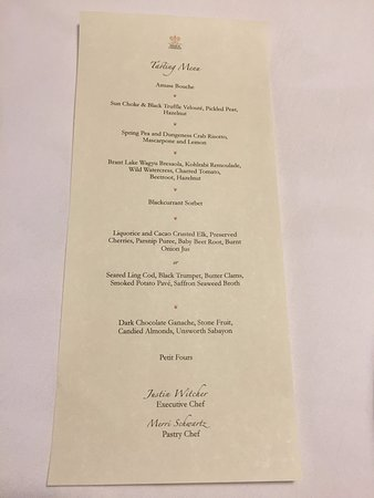Clayoquot Wilderness Resort: Tasting Menu