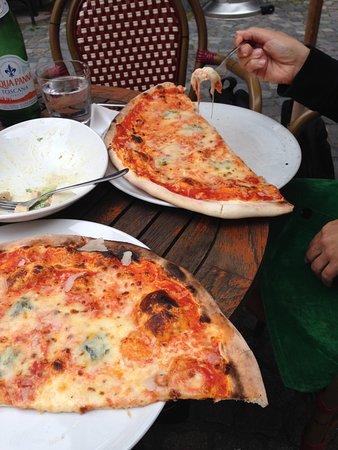 Humongous Pizza Quattro Formaggi on the Terrace