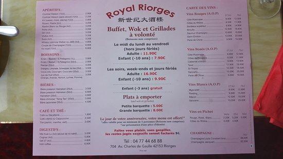 Riorges, צרפת: menu