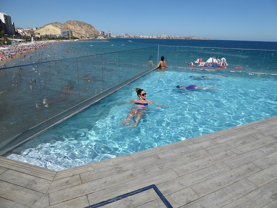 Infinity pool and beach behind picture of melia alicante - Hotels in alicante with swimming pool ...