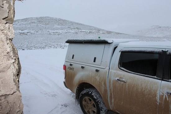 Sani Pass, Lesotho: Our car in the snow.