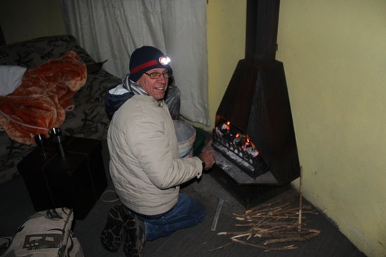 Sani Pass, Lesotho: Michelle making fire.