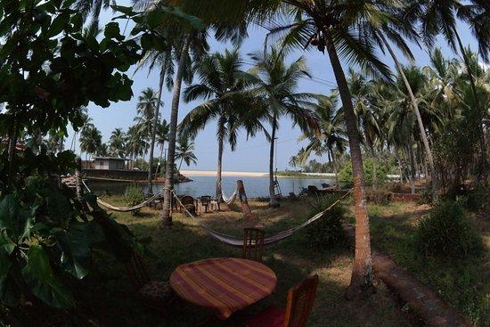 Kannur Beach House: Hammocks and a wonderful view, just swim through the river 100m till the ocean :-)
