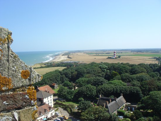 Happisburgh, UK: View of the Lighthouse from the top of the church tower.