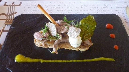 Conilhac-Corbieres, Frankreich: Vorspeise beim Menu du Jour mit Sommertrüffel