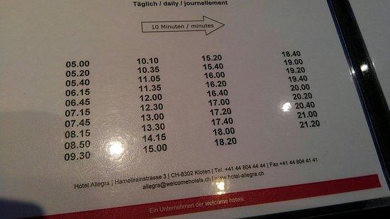 Kloten, Sveits: 無料シャトルバス時刻表