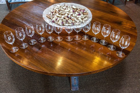 Rutherford, CA: Table set for wine tasting