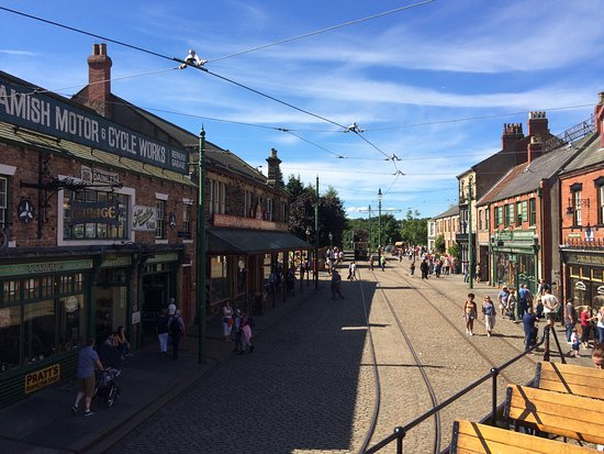 Beamish, UK: 1900's Town street from top of tram