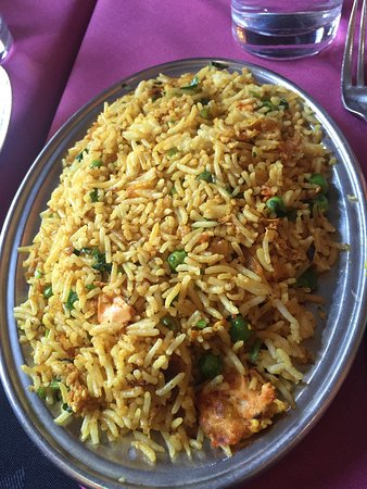 The egg fried rice was tasty. The tandoori platter  was covered in onions. A little too much. Th