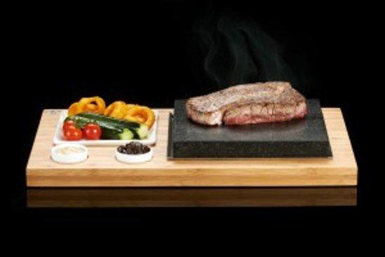 The Knatchbull Arms: steak on a lava stone