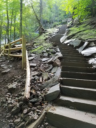Haines Falls, estado de Nueva York: Steps leading to top of falls