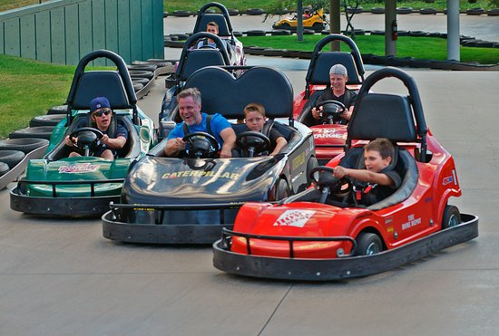 Estes Park Ride-A-Kart & Cascade Creek Mini-Golf: Into a turn on the kart track. Fun or what?