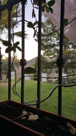 Tolox, Hiszpania: Vanuit het restaurant uitzicht op de tuin