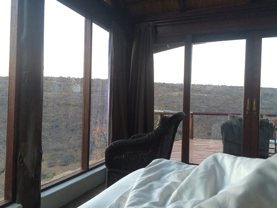 Vaalwater, South Africa: View from bed in bedroom.