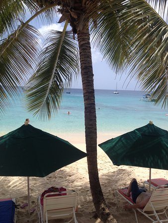 Holetown, باربادوس: The view from the bar .....