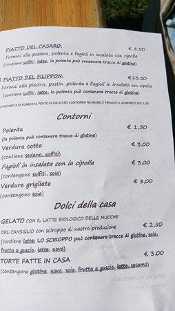 Tambre, Ιταλία: Menù 3