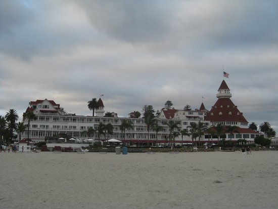 View of the Hotel del Coronado from the Beach.