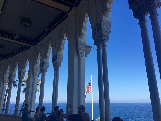 Catalina Island Casino: View out through the Casino walkway columns.