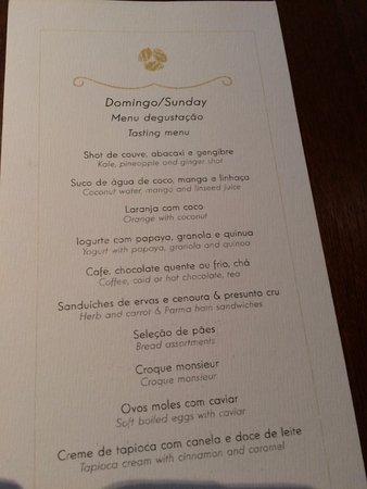 Ponta dos Ganchos Exclusive Resort: Menu Café da Amanha