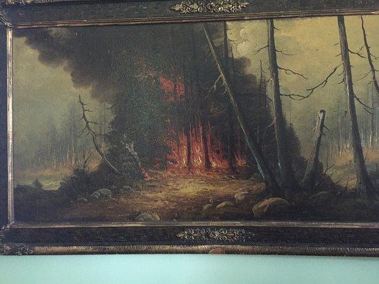 Hinckley, MN: Artwork depicting the fire