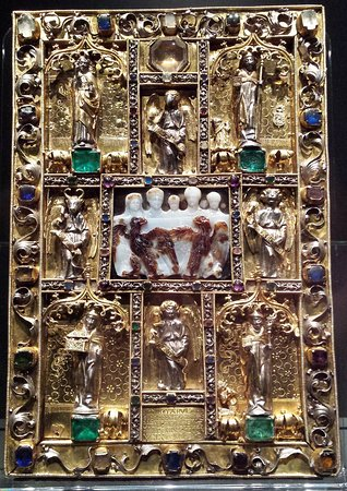 1499 cover of Ada codex with Constantinian cameo