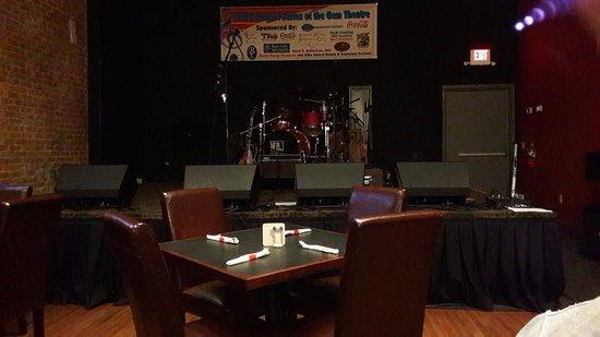 Wibaux, MT: il palco nella sala pranzo