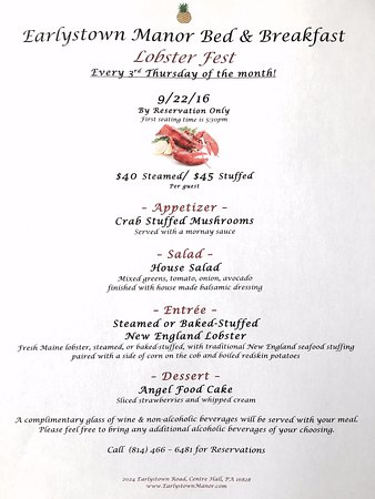Centre Hall, PA: Lobster Fest Menu!