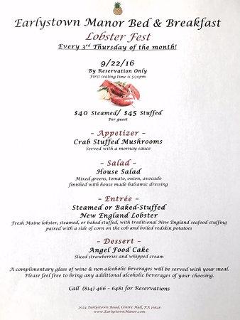 Centre Hall, Pensilvania: Lobster Fest Menu!