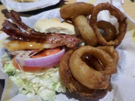 Brighton, MI: grilled chicken sandwich and onion rings