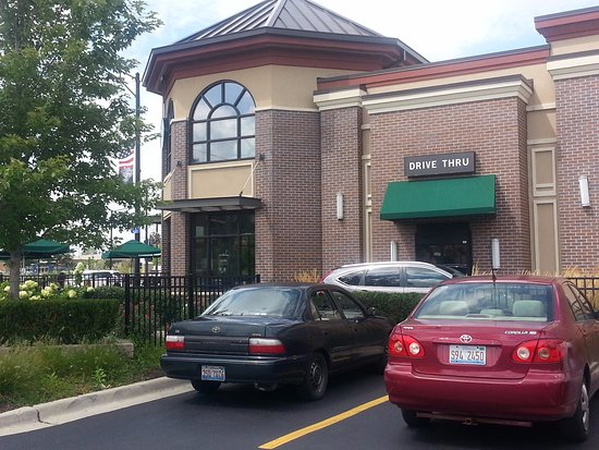 Niles, IL: Corner entrance and drive-thru for Starbucks from parking lot
