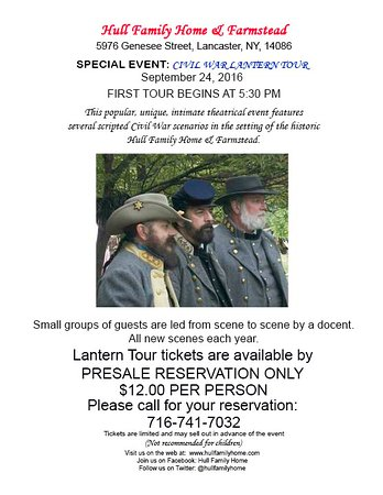 Lancaster, NY: Hull Family Home & Farmstead Civil War Candle Light Tours