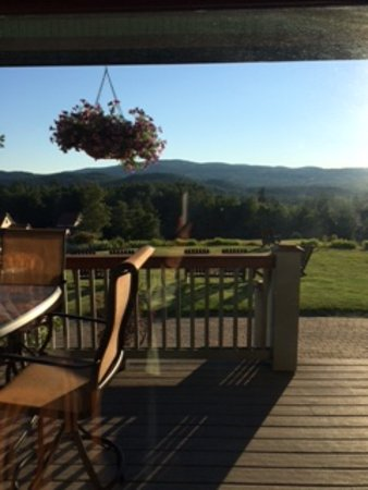 Campton, NH: Diner inside or outside: view includes porch, distant  mountains