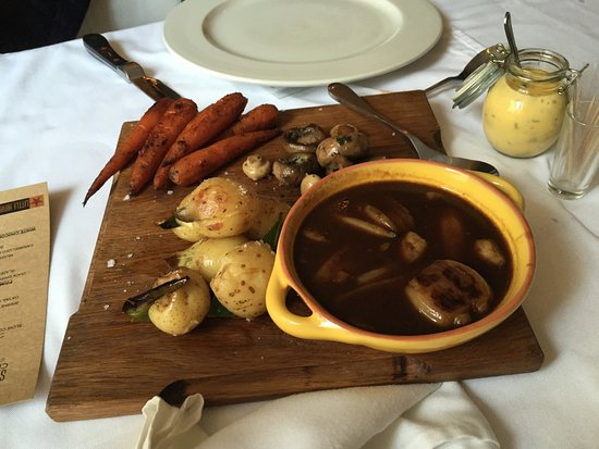 Little Havana: Baby potatoes roasted in duck fat, glazed carrots, mushrooms, and a port and onion jus