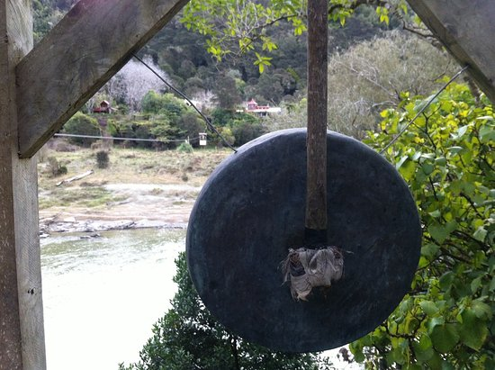 The Flying Fox: Gong and view back across the river towards property