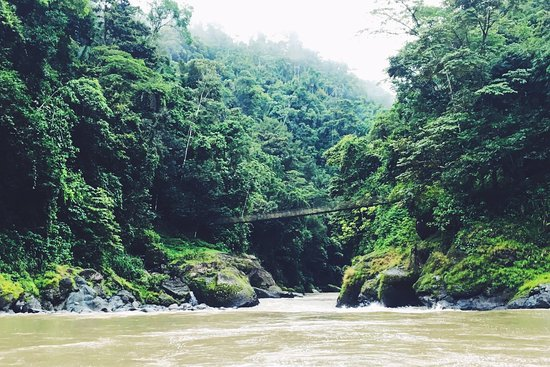 San Pedro, Costa Rica: Little hanging bridges cross the river every once in a while.