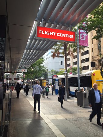 City Sights Hop On Hop Off-Day Bus Tours: Here is a land mark to help you find the start point. This flight center is front of the stop. (